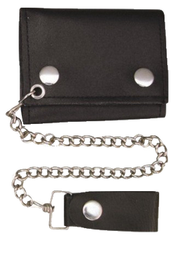 4 inch Black Leather Chain Wallet - Tri-fold - SKU USA-AL3200-AL