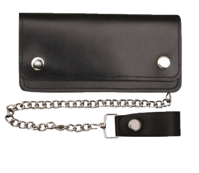 6 inch Black Leather Chain Wallet - Bifold - SKU USA-AL3201-AL
