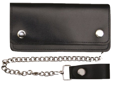 8 inch Black Leather Chain Wallet - Bifold - SKU USA-AL3202-AL