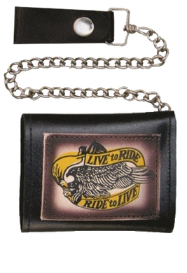 4 inch Black Leather Chain Wallet with Live To Ride - Tri-fold - SKU USA-AL3273-AL
