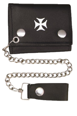 4 inch Black Leather Chain Wallet with Iron Cross - Tri-fold - SKU USA-AL3276-AL
