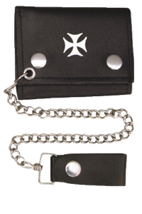 4 inch Black Leather Chain Wallet with Iron Cross - Tri-fold - SKU USA-AL3276-AL - USA Biker Leather