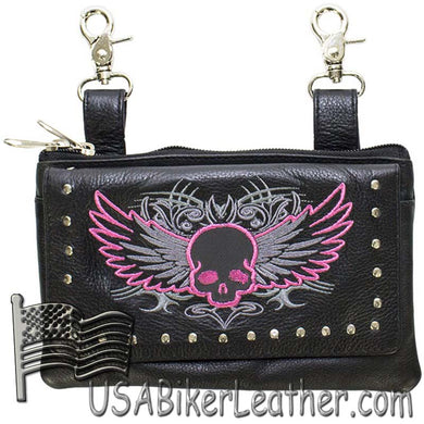 Ladies Studded Leather Belt Bag with Pink Skull Wings Design - Belt Bag - SKU USA-BAG35-EBL10-PINK-DL