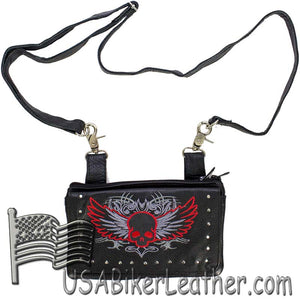 Ladies Studded Leather Belt Bag with Red Skull Wings Design - Belt Bag - SKU USA-BAG35-EBL10-RED-DL