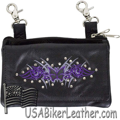 Ladies Studded Leather Belt Bag with Purple Butterfly Design - Belt Bag - SKU USA-BAG35-EBL2-PURP-DL