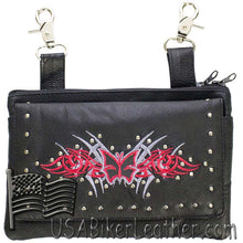 Ladies Studded Leather Belt Bag with Red Butterfly Design - Belt Bag - SKU USA-BAG35-EBL2-RED-DL