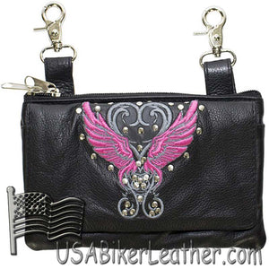 Ladies Studded Leather Belt Bag with Pink Wings Design - Belt Bag - SKU USA-BAG35-EBL8-PINK-DL