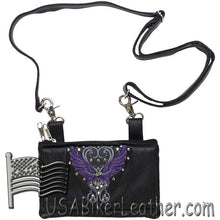 Ladies Studded Leather Belt Bag with Purple Wings Design - Belt Bag - SKU USA-BAG35-EBL8-PURP-DL