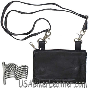 Ladies Plain Leather Belt Bag with Studs Design - Belt Bag - SKU USA-BAG35-PLAIN-DL