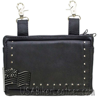 Ladies Studded Leather Belt Bag with Studs Design - Belt Bag - SKU USA-BAG35-STUD-DL