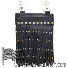 Ladies Leather Belt Bag with Fringe and Studs - Belt Bag - SKU USA-BAG37-11-DL