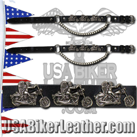Pair of Biker Boot Chains - Motorcycle Angel - SKU USA-BC1-DL