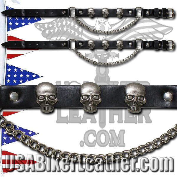 Pair of Biker Boot Chains - Skull - SKU USA-BC10-DL - USA Biker Leather