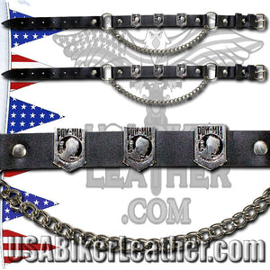 Pair of Biker Boot Chains - POW MIA - SKU USA-BC11-DL - USA Biker Leather
