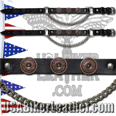 Pair of Biker Boot Chains - Shotgun Shell - SKU USA-BC19-DL - USA Biker Leather