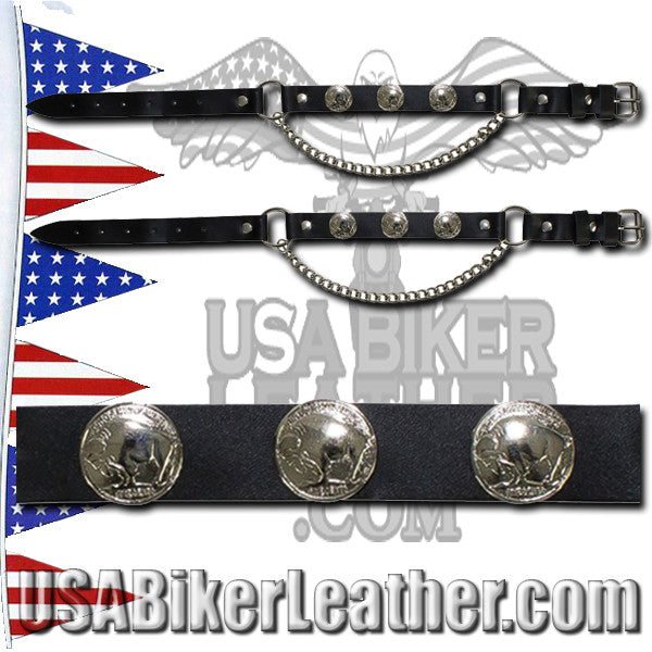 Pair of Biker Boot Chains - Buffalo Nickel - SKU USA-BC2-DL - USA Biker Leather