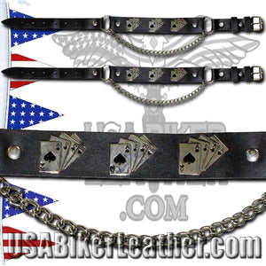 Pair of Biker Boot Chains - Dead Mans Hand - SKU USA-BC20-DL - USA Biker Leather