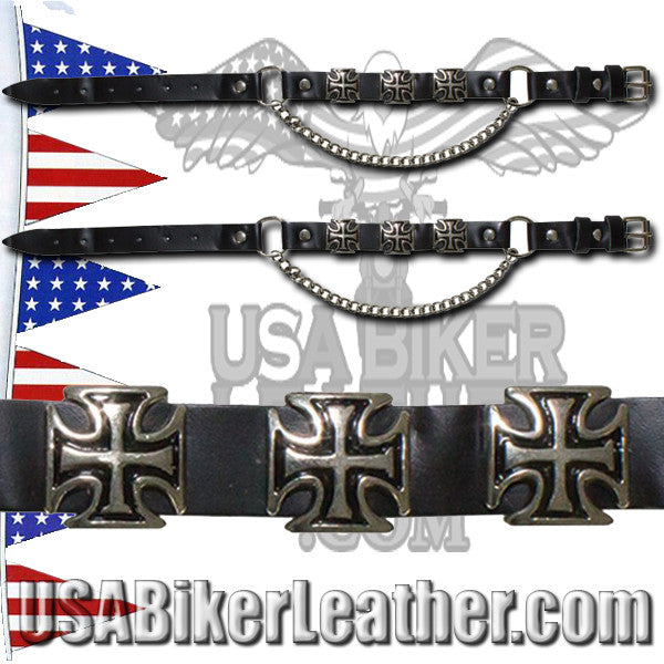 Pair of Biker Boot Chains - Iron Cross - SKU USA-BC3-DL - USA Biker Leather