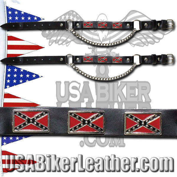 Pair of Biker Boot Chains - Rebel Flag - SKU USA-BC5-DL - USA Biker Leather