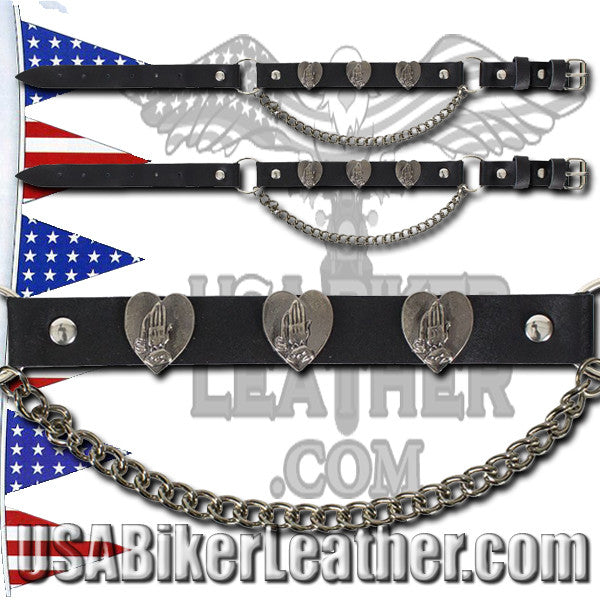 Pair of Biker Boot Chains - Praying Hands - Christian Biker - SKU USA-BC8-DL - USA Biker Leather