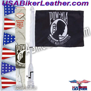 Diamond Plate Motorcycle Flagpole Mount with POW MIA Flag / SKU USA-BKFLAGPM-BN - USA Biker Leather
