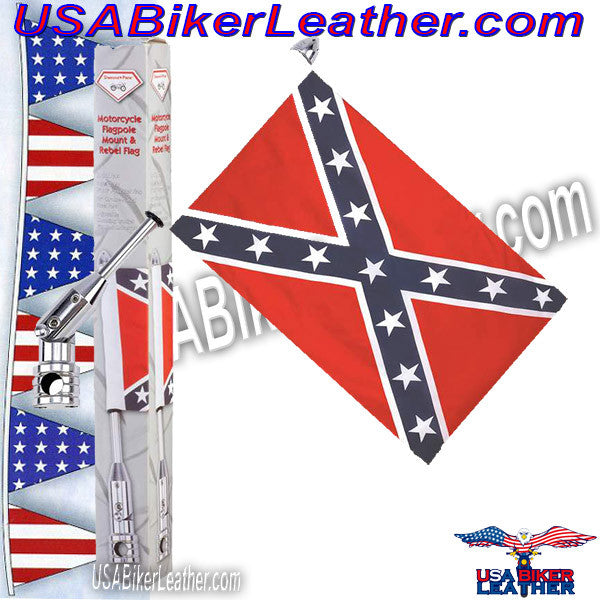 Diamond Plate Motorcycle Flagpole Mount and Rebel Flag / SKU USA-BKFLGPLR-BKFLGPR18-BN - USA Biker Leather - 2