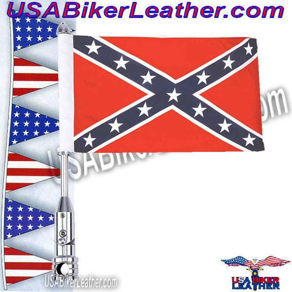 Diamond Plate Motorcycle Flagpole Mount and Rebel Flag / SKU USA-BKFLGPLR-BKFLGPR18-BN - USA Biker Leather - 1