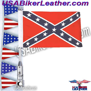 Diamond Plate Motorcycle Flagpole Mount and Rebel Flag / SKU USA-BKFLGPLR-BKFLGPR18-BN - USA Biker Leather