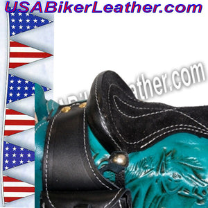 Leather Saddle Purse, Made In USA / SKU USA-BL44-BL - USA Biker Leather - 5