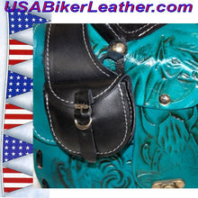 Leather Saddle Purse, Made In USA / SKU USA-BL44-BL - USA Biker Leather - 4