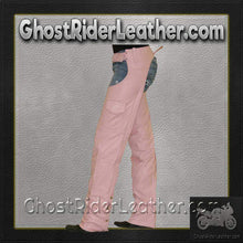 Ladies Pink Leather Motorcycle Chaps With Pocket  / SKU GRL-C325-PINK-DL