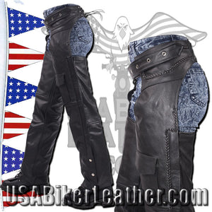 Leather Chaps with Braid Design for Men or Women / SKU USA-C326-DL - USA Biker Leather - 3