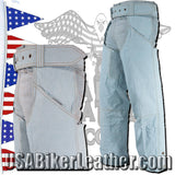 Blue Leather Chaps with a Denim Look / SKU USA-C332-15-DL - USA Biker Leather - 2