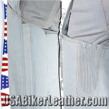 Blue Leather Chaps with a Denim Look / SKU USA-C332-15-DL - USA Biker Leather - 3