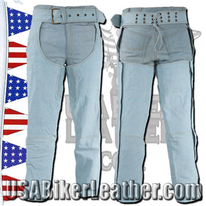 Blue Leather Chaps with a Denim Look / SKU USA-C332-15-DL - USA Biker Leather