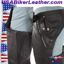 Mens or Ladies Unisex Leather Chaps with Removable Liner / SKU USA-C334-DL - USA Biker Leather - 2