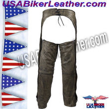 Mens Leather Chaps in Naked Distressed Brown Leather / SKU USA-C334-12-DL - USA Biker Leather - 2