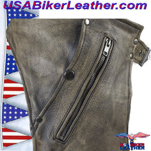 Mens Leather Chaps in Naked Distressed Brown Leather / SKU USA-C334-12-DL - USA Biker Leather - 3