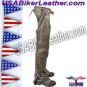 Mens Leather Chaps in Naked Distressed Brown Leather / SKU USA-C334-12-DL - USA Biker Leather - 4