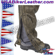 Mens Leather Chaps in Naked Distressed Brown Leather / SKU USA-C334-12-DL - USA Biker Leather