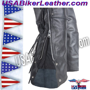 Mens Ladies Unisex Leather Chaps with Braid and Fringe / SKU USA-C337-DL - USA Biker Leather