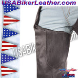 Mens Ladies Unisex Leather Chaps with Braid and Fringe / SKU USA-C337-DL - USA Biker Leather - 2