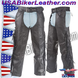 Mens Ladies Unisex Leather Chaps with Braid and Fringe / SKU USA-C337-DL - USA Biker Leather - 1