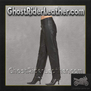 Ladies Hip Hugger Straight Leg Leather Pants / SKU C503-DL