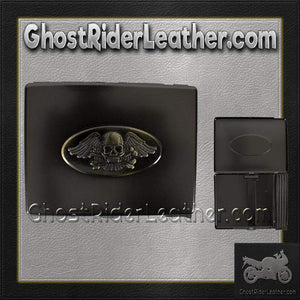 Metal Cigarette Case with Skull and Wings Design on Front - SKU GRL-CG8-DL - USA Biker Leather