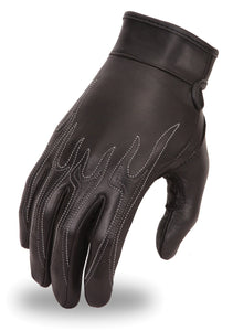 Women's Leather Flame Design Motorcycle Gloves - USA Biker Leather