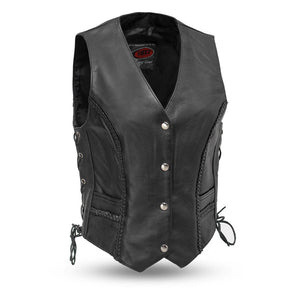 Trinity - Women's Leather Motorcycle Vest - USA Biker Leather