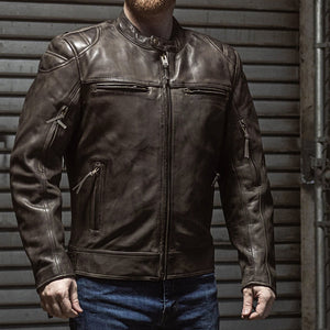 Top Performer - Mens Racer Leather Jacket - Up To 5X - Black or Brown - SKU USA-FIM288CHRZ-FM - USA Biker Leather