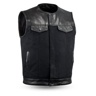 49/51 Canvas (no collar) | Men's Motorcycle Vest - USA Biker Leather