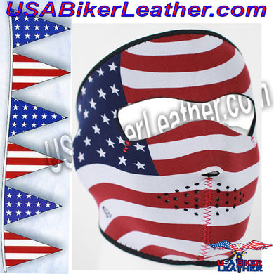 USA Flag Stars and Stripes Neoprene Full Face Mask / SKU USA-FMB05-WNFM003-HI - USA Biker Leather